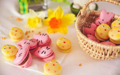 Macarons de Pâques en forme de lapins & poussins